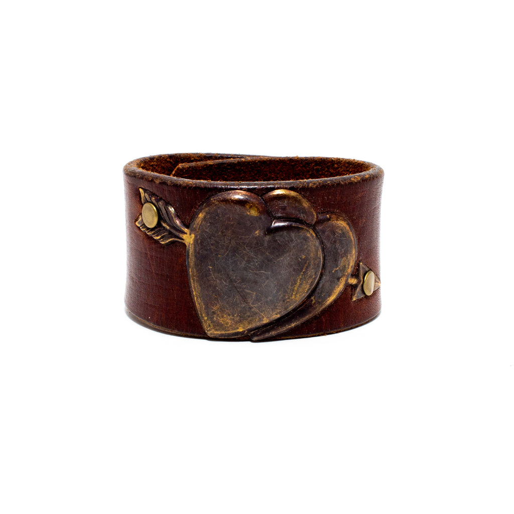 Handcrafted Leather & Metal Hearts Cuff