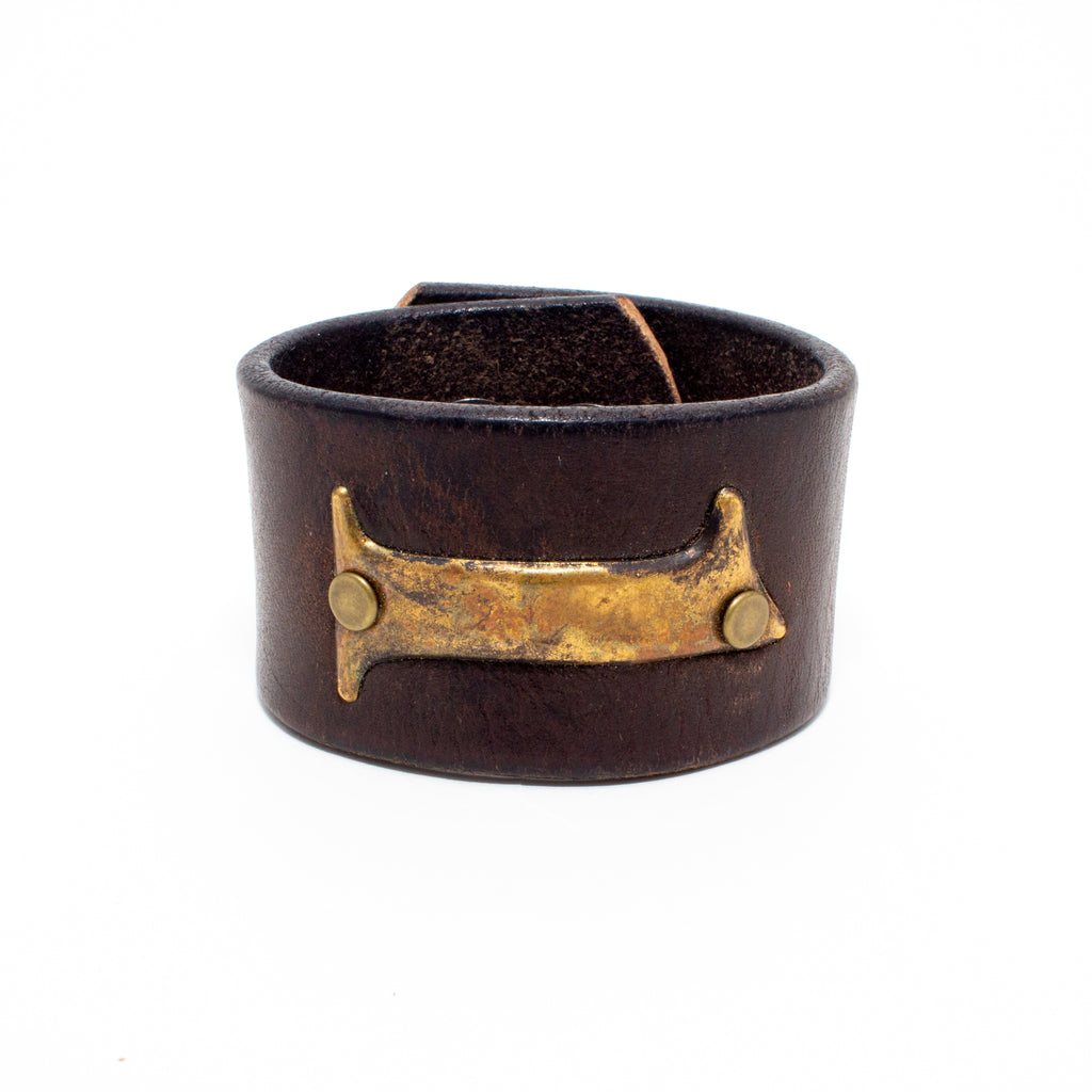 Handcrafted Leather & Metal Number 1 Cuff