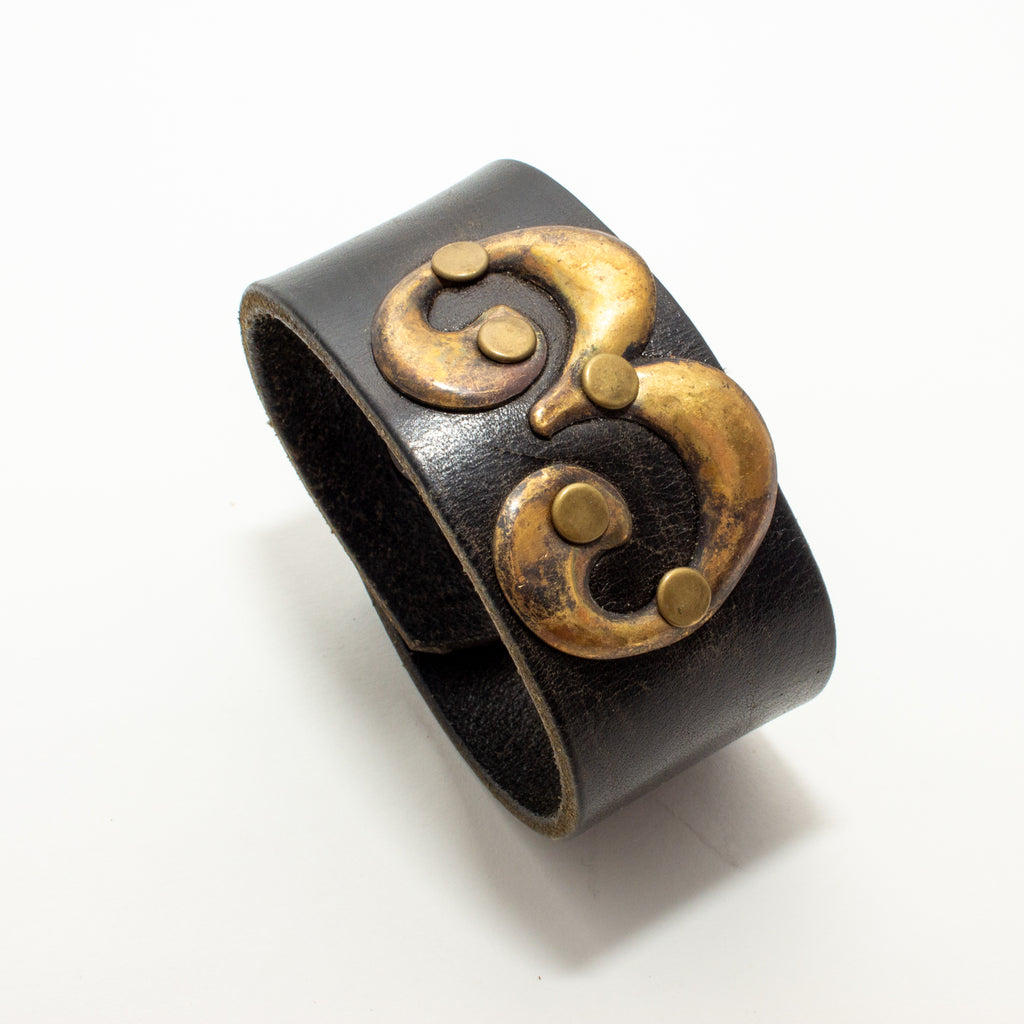 Handcrafted Leather & Metal Number 3 Cuff