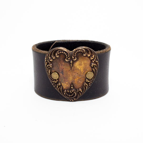 Handcrafted Leather & Metal Heart Cuff