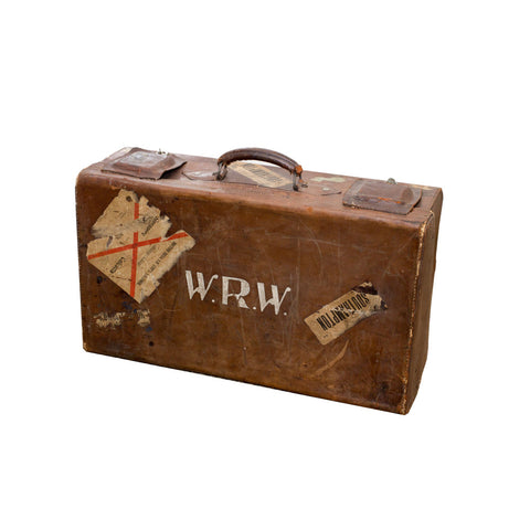 Vintage British Leather Locking Suitcase
