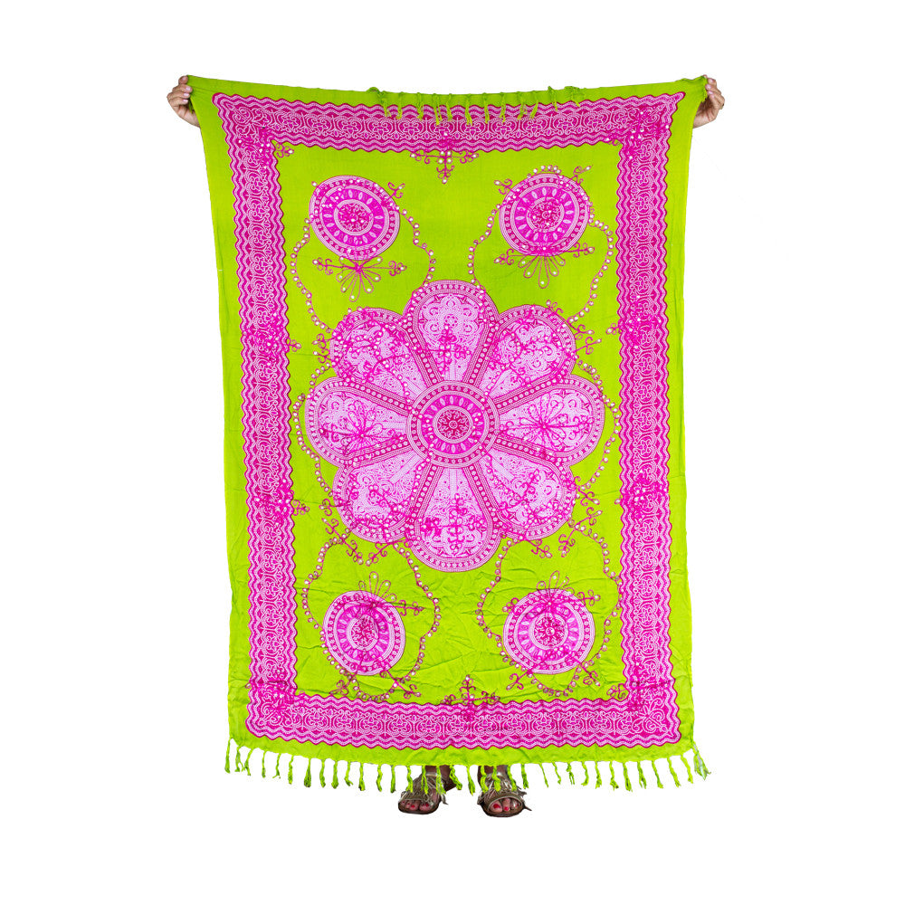 Mexican Sequined Sarong in Lime, Fuchsia & White