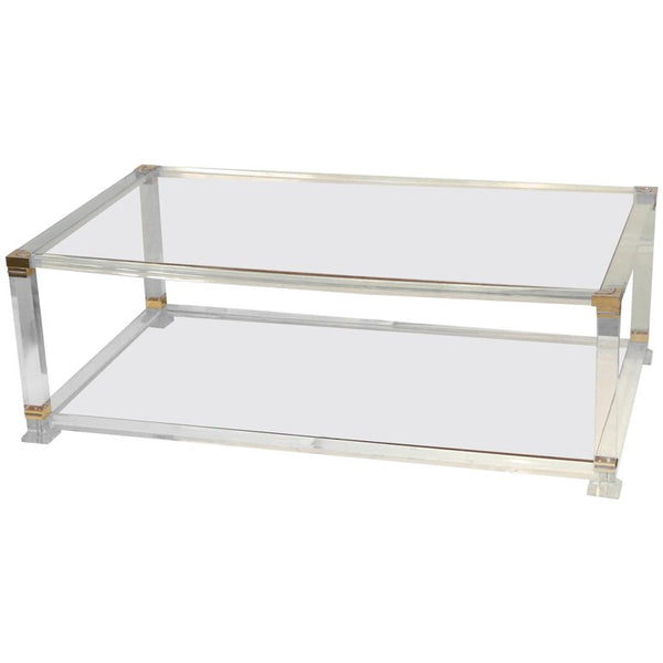 Midcentury French Lucite and Brass Cocktail Table with Glass Shelves