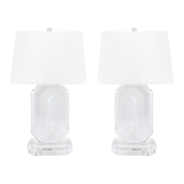 Midcentury Jewel Cut Lamp Pair with Linen Shades