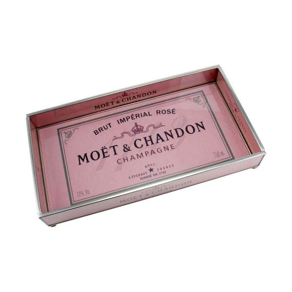 Moet & Chandon Rosé Champagne Label Glass Tray