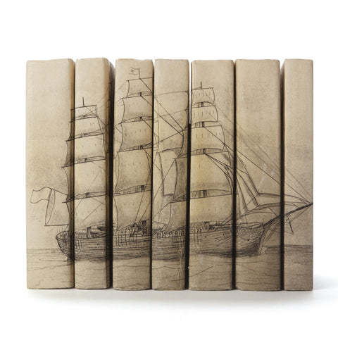 Sea Ship Spine Ivory Books - Set of Seven