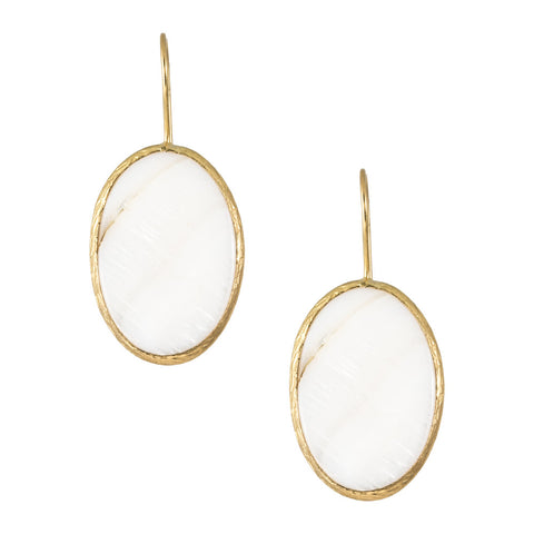 Turkish Delights Earrings: Mother of Pearl Oval Disc Drops