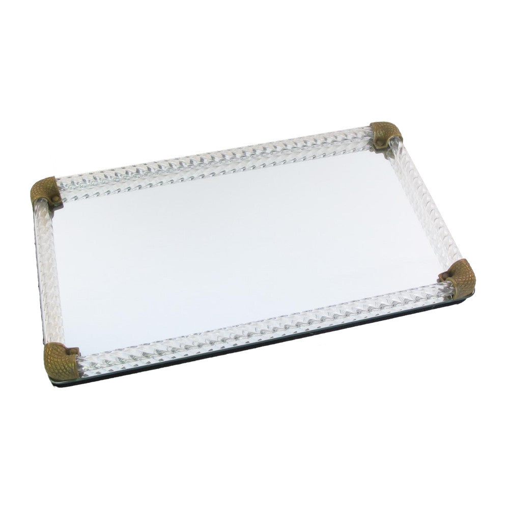 Maison Mirrored Acrylic & Brass Serving Tray