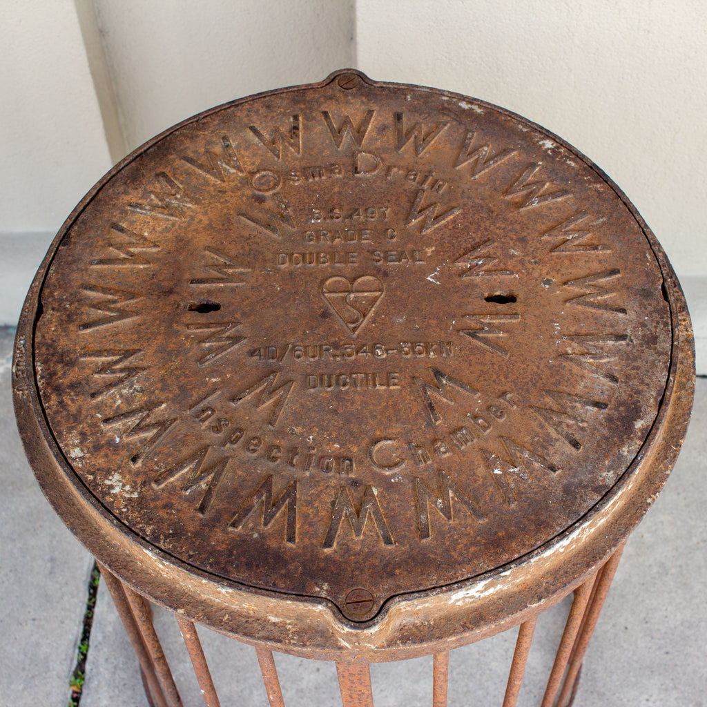 Industrial Antique British Iron Manhole Cover and Drain Side Table