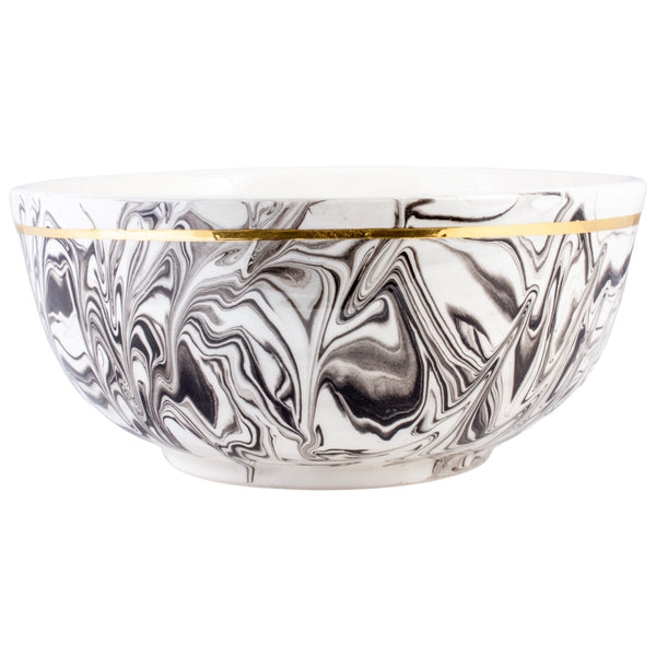 Extra Large Handmade Marble Glazed Moroccan Bowls with 12K Gold Rim