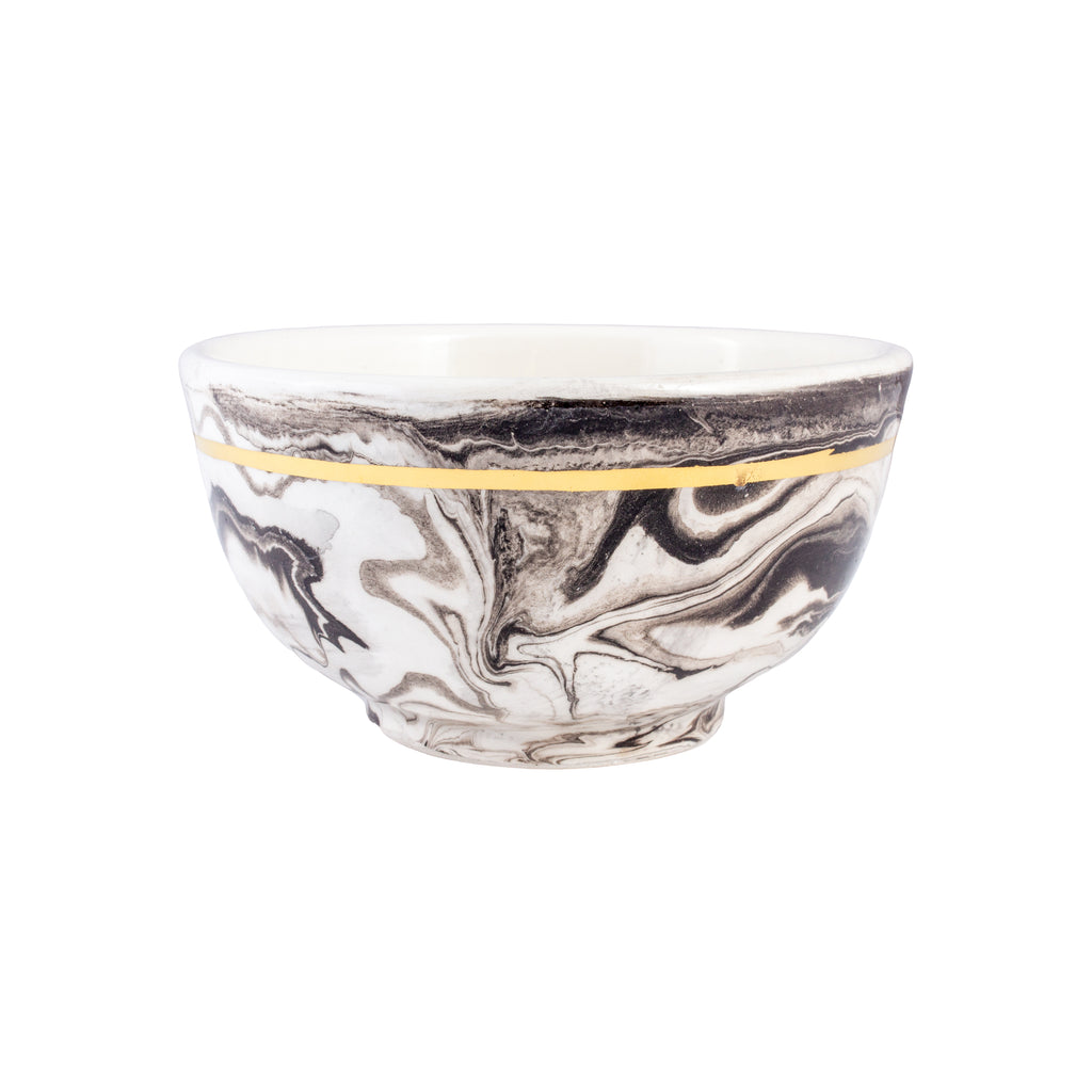 Small Handmade Marble Glazed Moroccan Bowls with 12K Gold Rim
