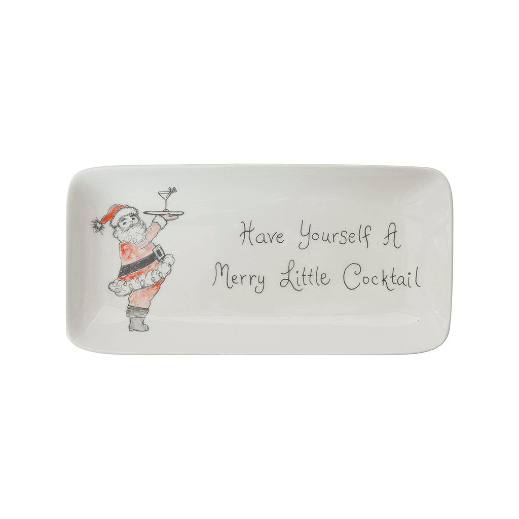 "Stoneware ""Have Yourself A Merry Little Cocktail"" Tray"