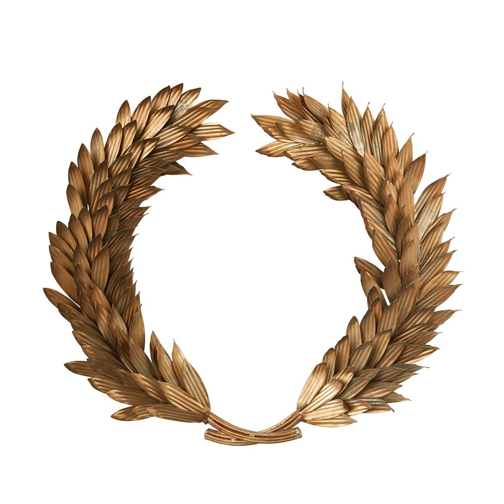 Metal Laurel Wreath Wall Decoration in Antiqued Gold Finish