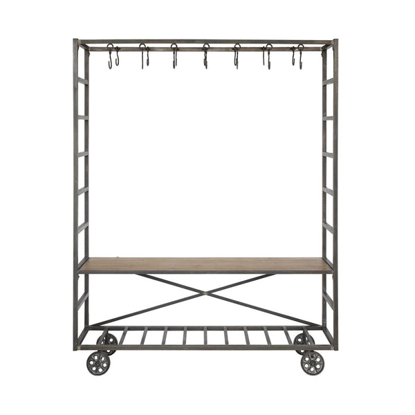Metal & Wood Industrial Bench with Hooks