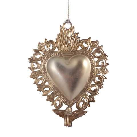 Metal Sacred Heart Milagros Ornament