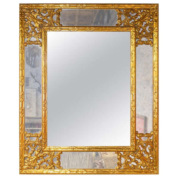 Antique Belgian Giltwood Overlay Mirror with Smoky Glass Accents