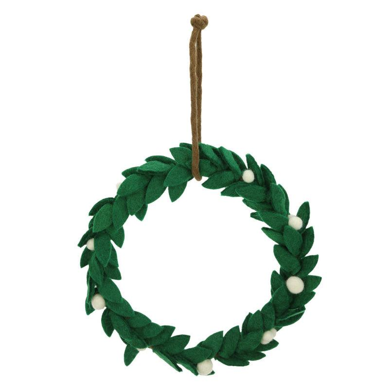 Mistletoe Felt Wreath Handmade in Nepal