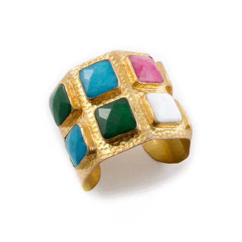 Multi-Colored Natural Stone & Brass Cuff from Istanbul