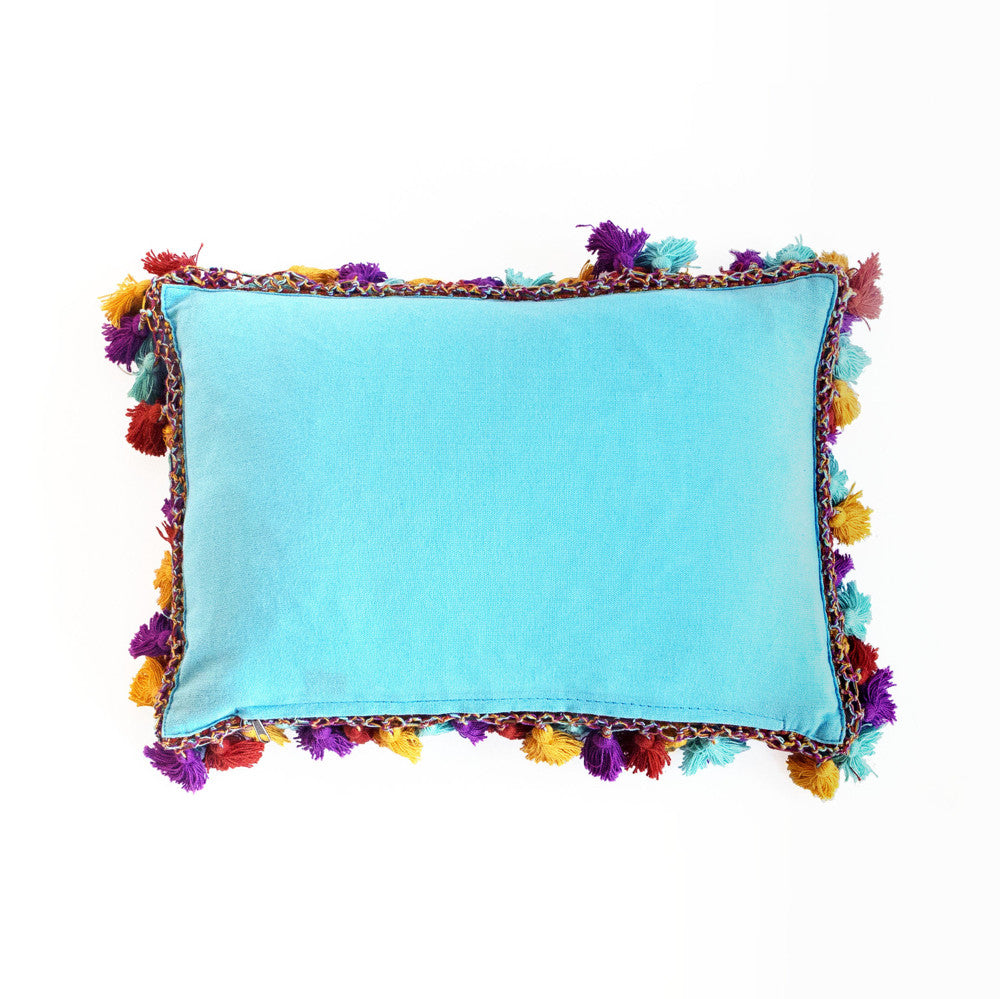 Multi-Yellow Handmade Linen Lumbar Pillow from Guatemala