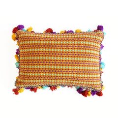 Multi-Yellow Handmade Linen Lumbar Pillow from Guatamala