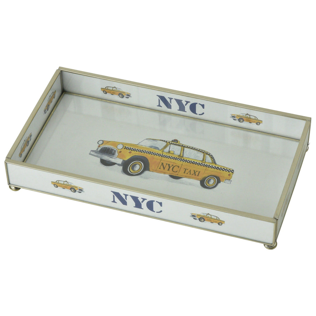 NYC Yellow Taxi Nickel & Glass Tray
