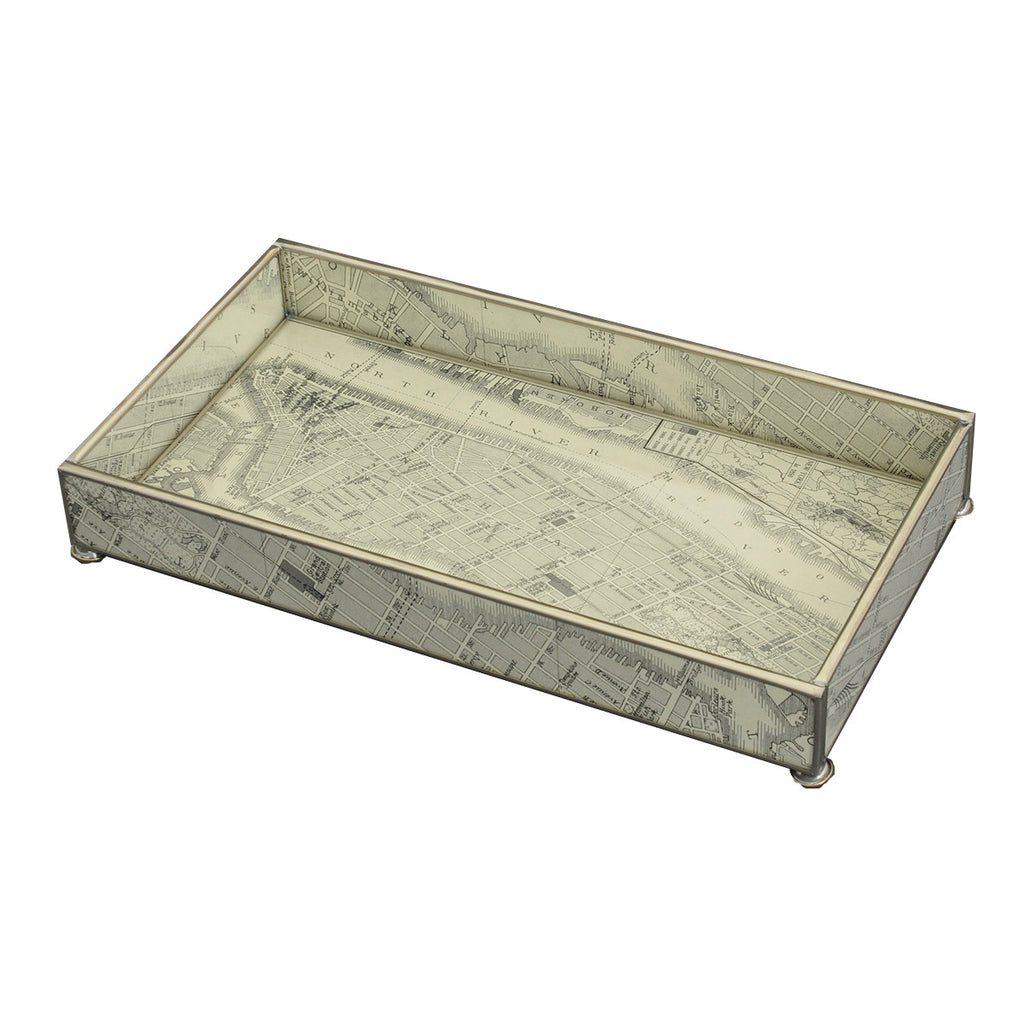 Manhattan Island Glass & Nickel Footed Tray