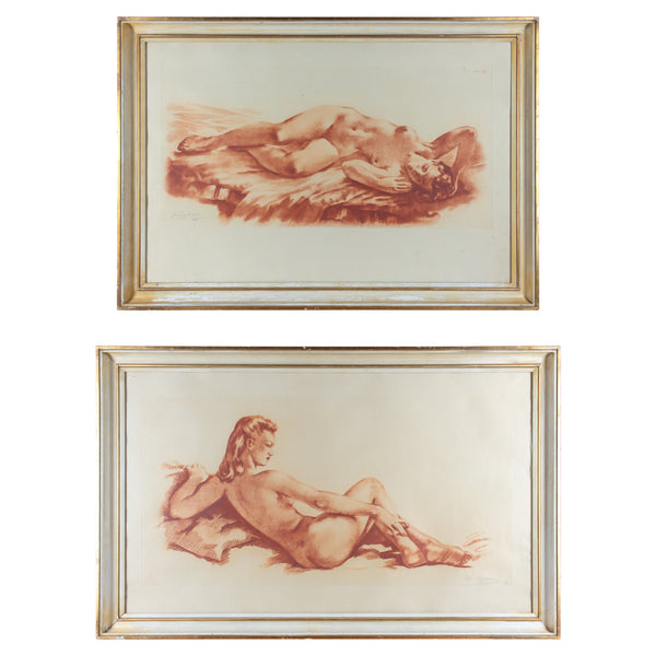 Pair of Vintage French Nude Lithographs Signed and Numbered