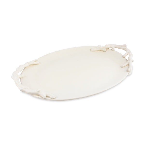 Ceramic Ovular Tray with Branch Handles in Matte Cream