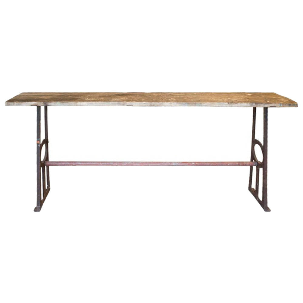 Large Distressed 1940s Wood & Iron Console Table Found in France