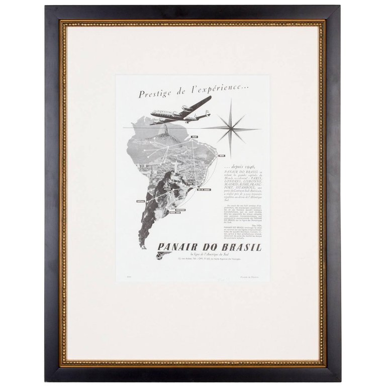 1930s Framed French Panair do Brasil Print Ad