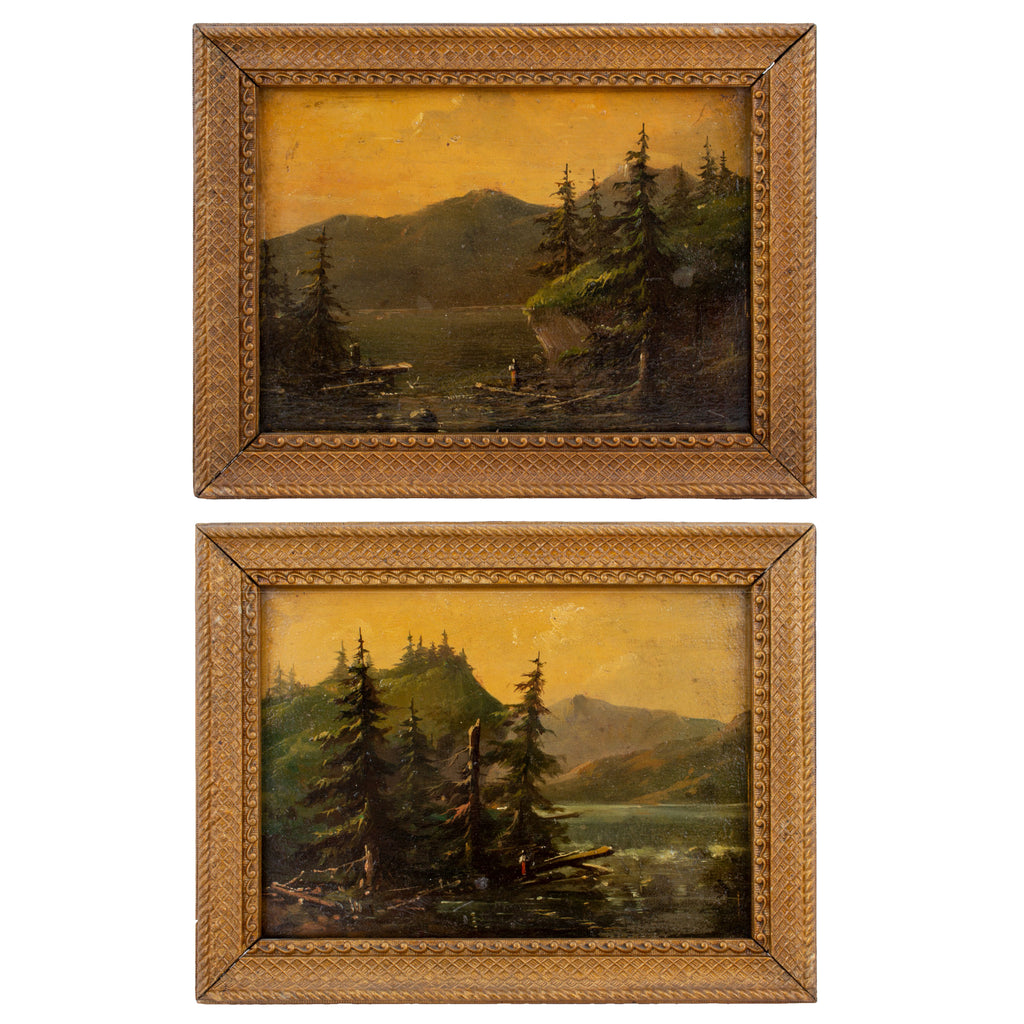 Pair of Small Antique Framed Landscapes found in France