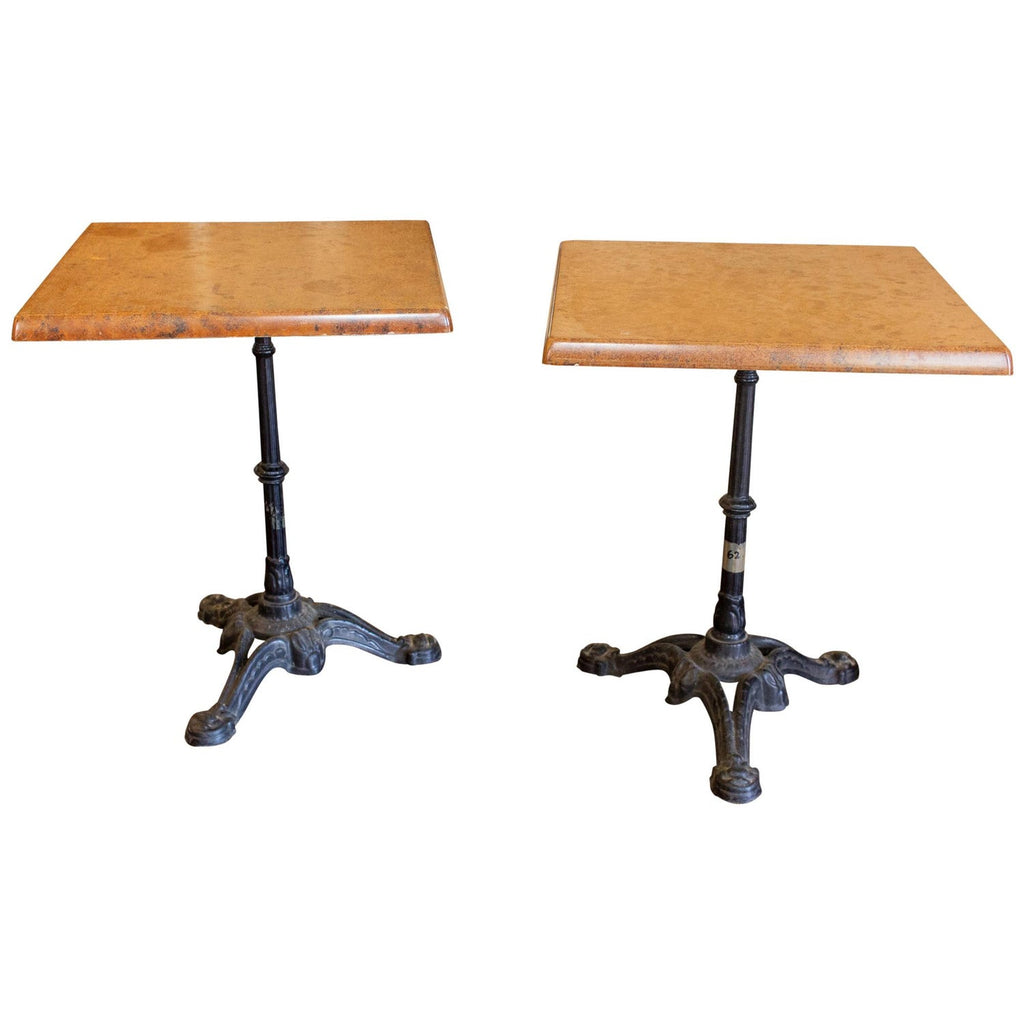 "Vintage French Iron Base Bistro Tables with Square Fiberglass Faux ""Stone"" Top"