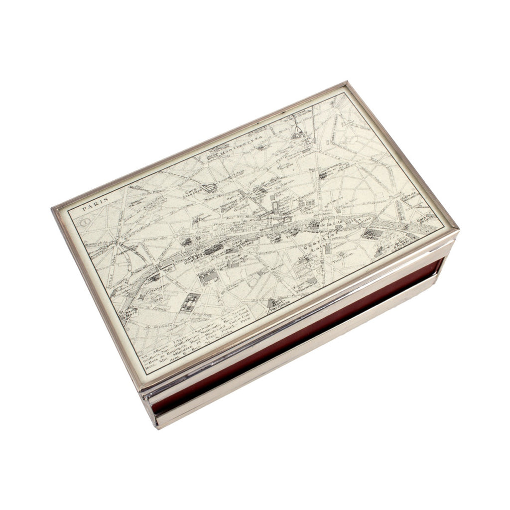 Glass & Nickel Paris Map Matchcover with Matches