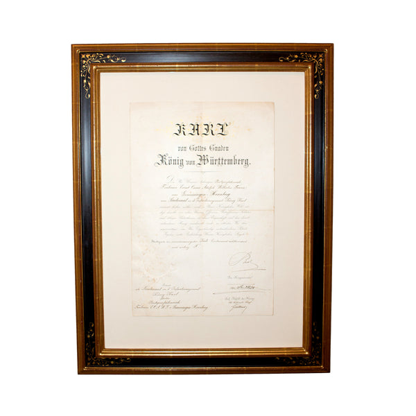 Antique Officer's Promotion Patent, signed by King Karl of Württemberg