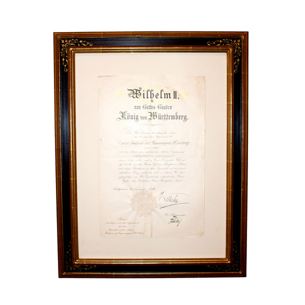Antique Officer's Promotion Patent, signed by King Wilhelm II of Württemberg