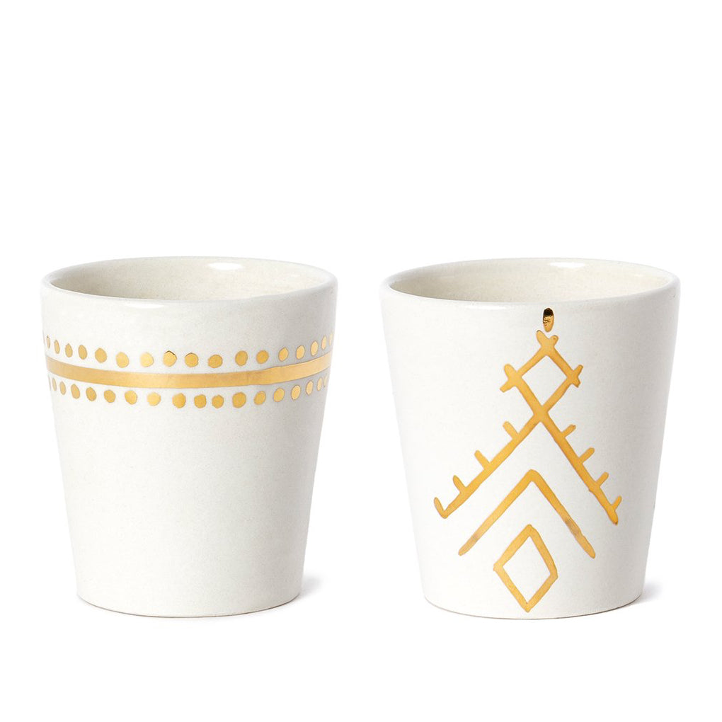 Handmade White Glazed Moroccan Cups with 12K Gold Accents