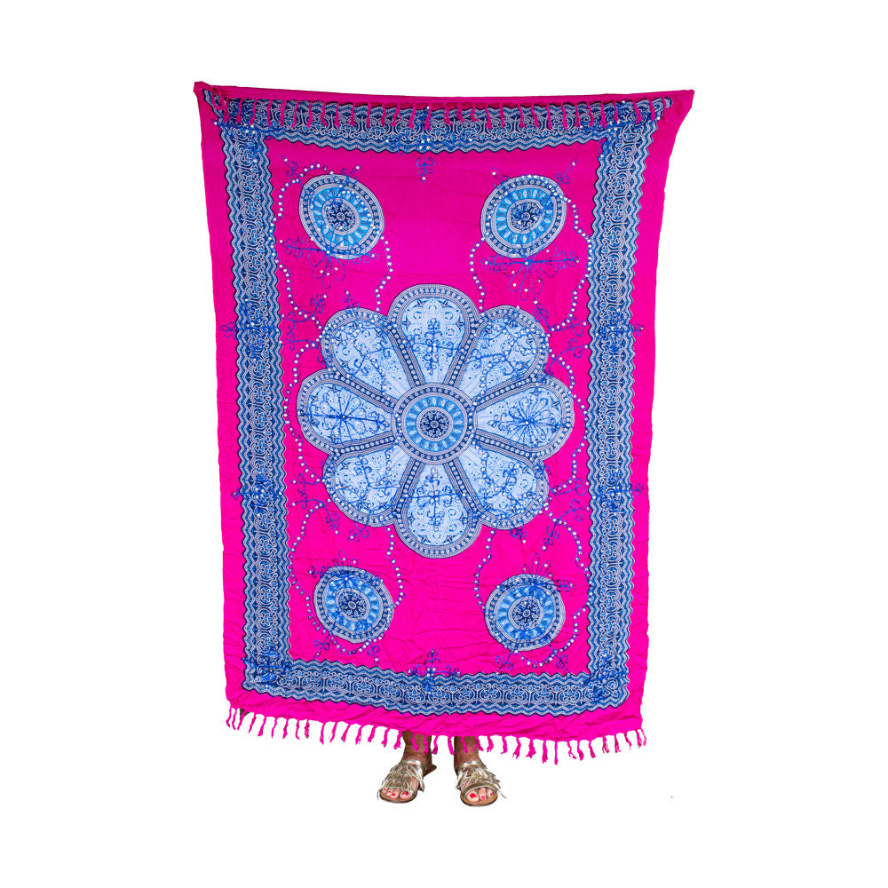Mexican Sequined Sarong in Fuchsia, Blue & White