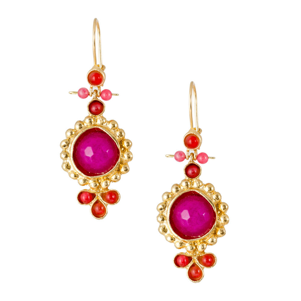 Turkish Delights Earrings: Hot Pink Faceted Drops