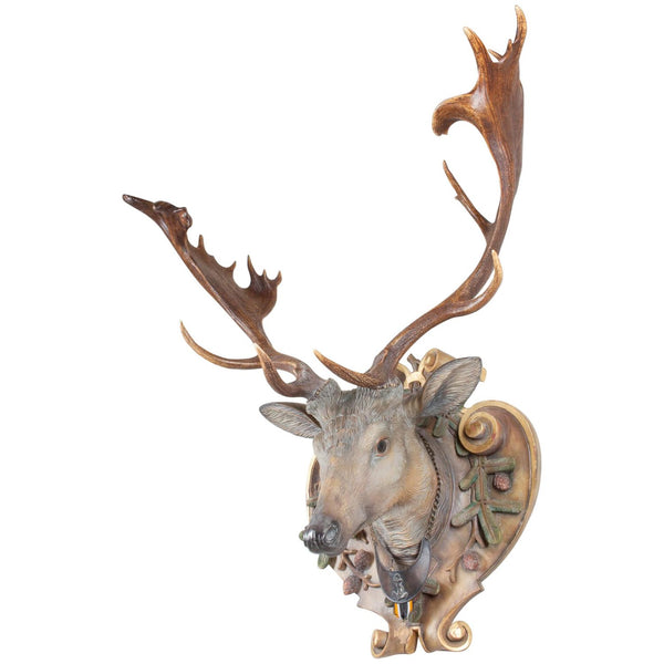 Hand-Carved Fallow Deer with Antique Habsburg Antlers from Eckartsau Castle