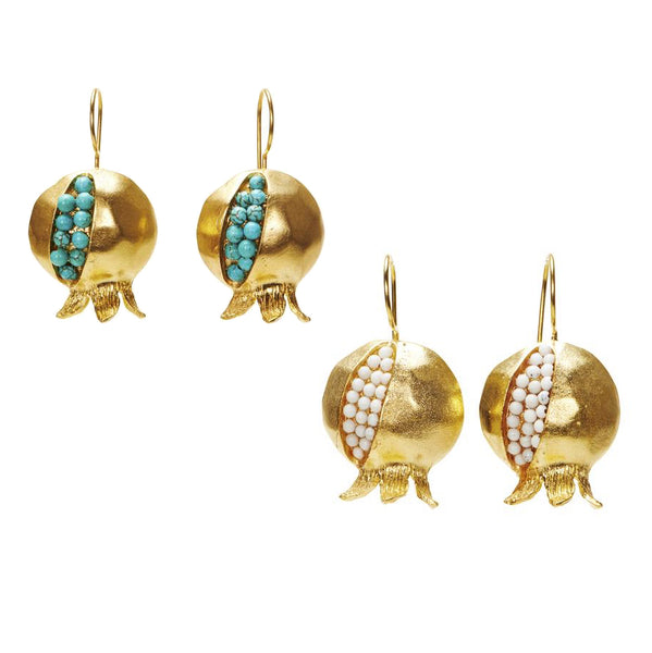 Handmade Gold Pomegranate Granada Earrings from Istanbul
