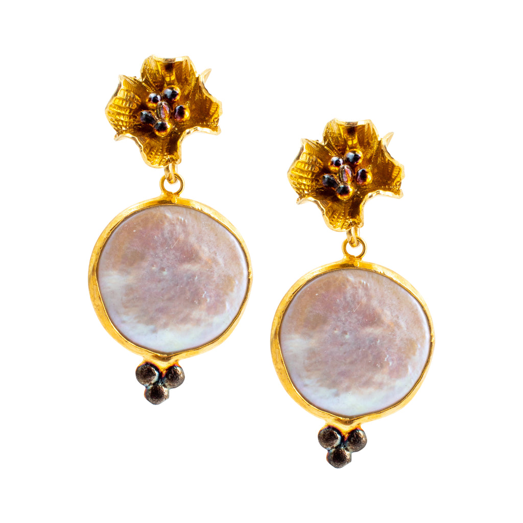 Handmade Gold Flower Bloom & Natural Pearl Drop Earrings from Istanbul