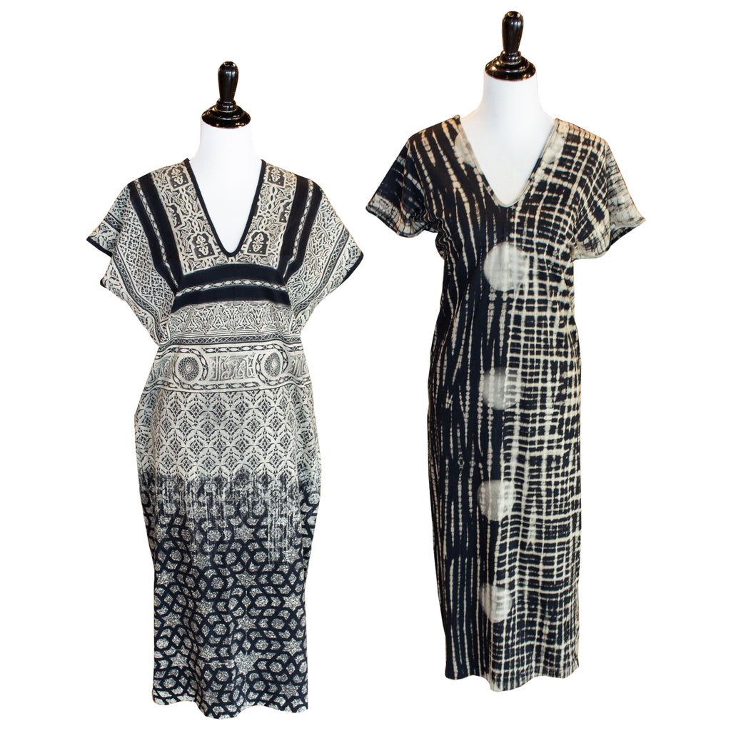 Hand-Printed Cotton Kaftan Dress from Thailand