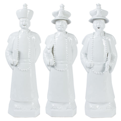 White Ceramic Statues of Three Emperors of the Qing Dynasty (Large)