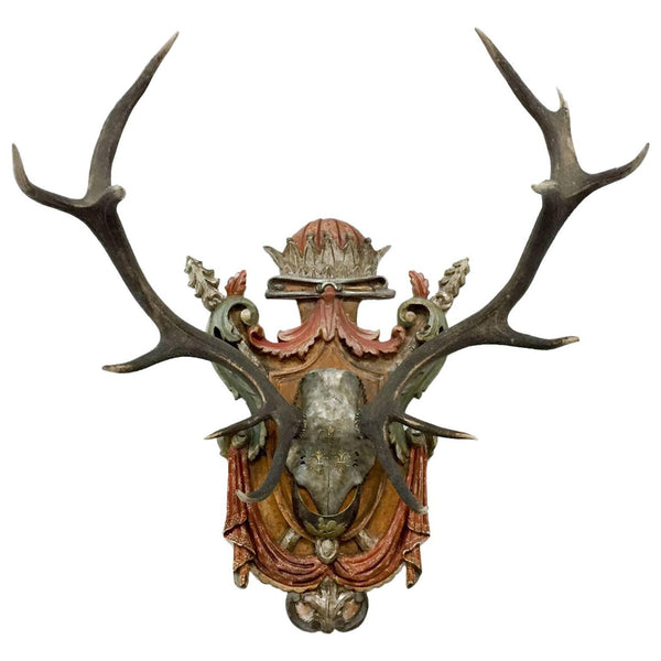 Prussian Red Stag with French Plaque and Original French Officer's Artillery Gorget