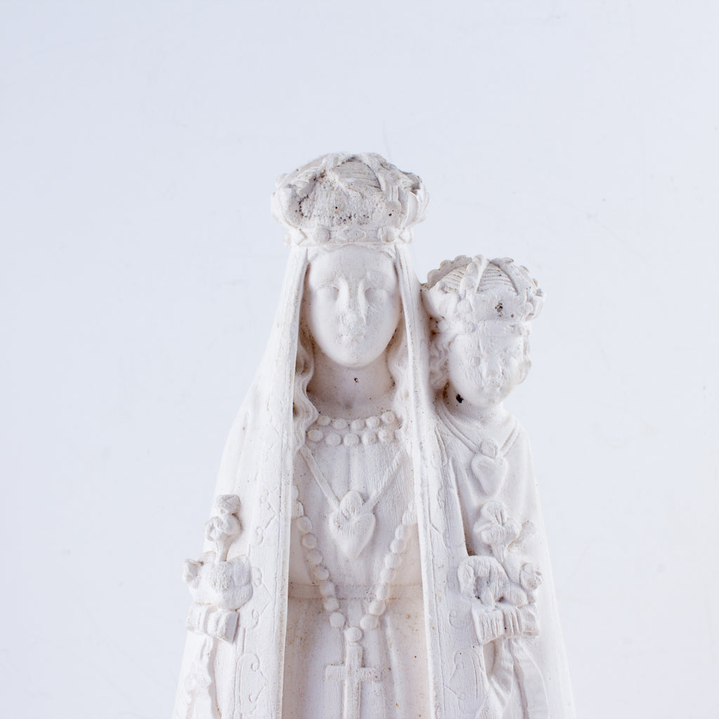 1930s French Plaster Mary & Christ Statue