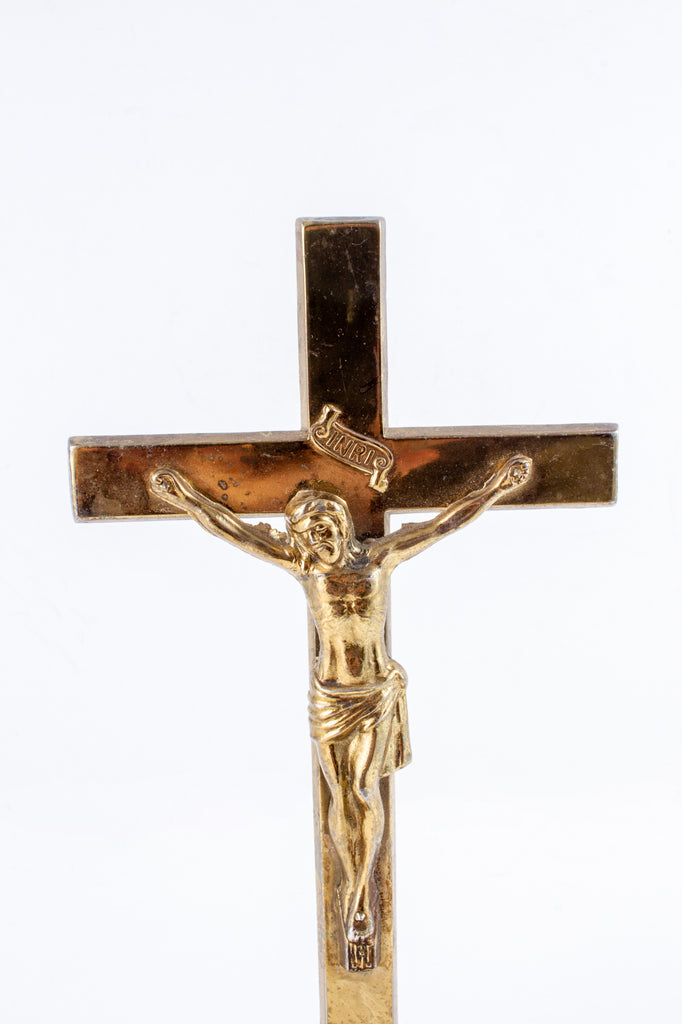 Small Vintage French Metal Standing Crucifix