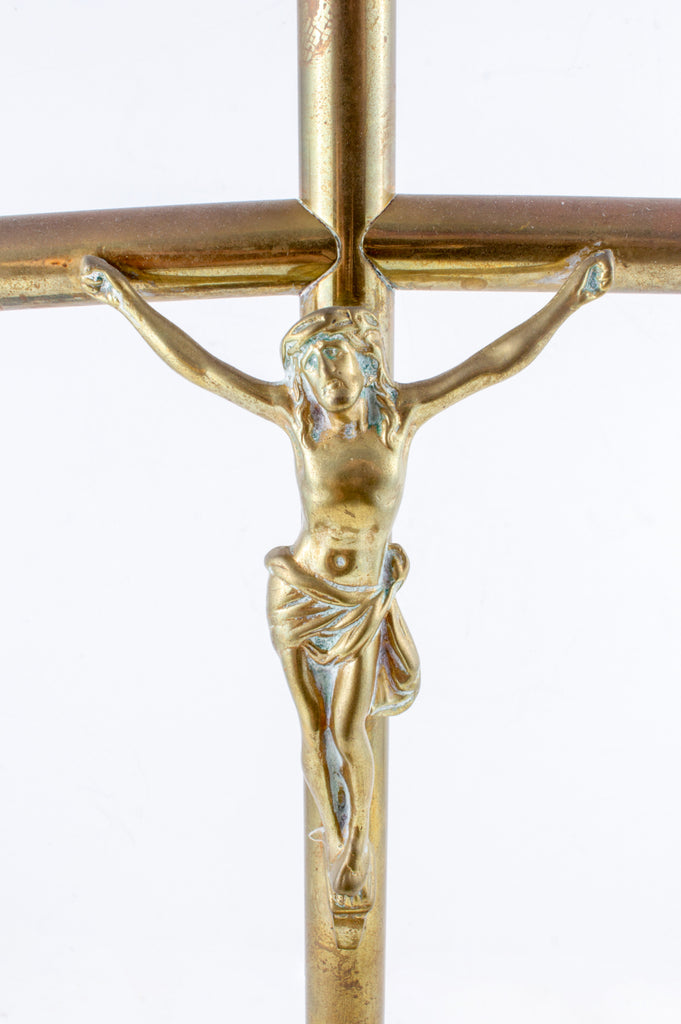 Antique French Brass Standing Crucifix