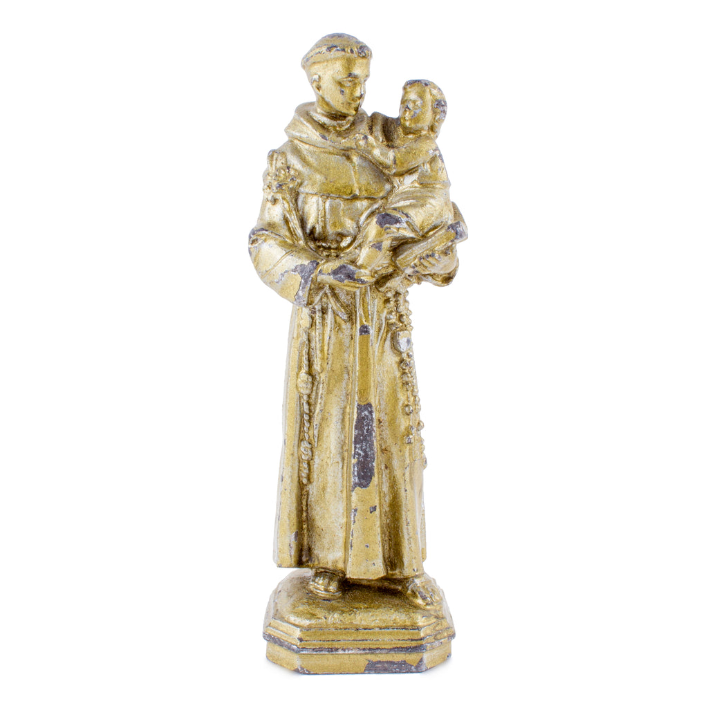 Small Vintage Metal Plaster Saint Anthony Figurine