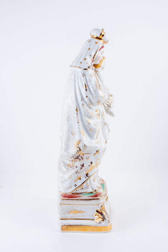 Antique French Porcelain Madonna Statue