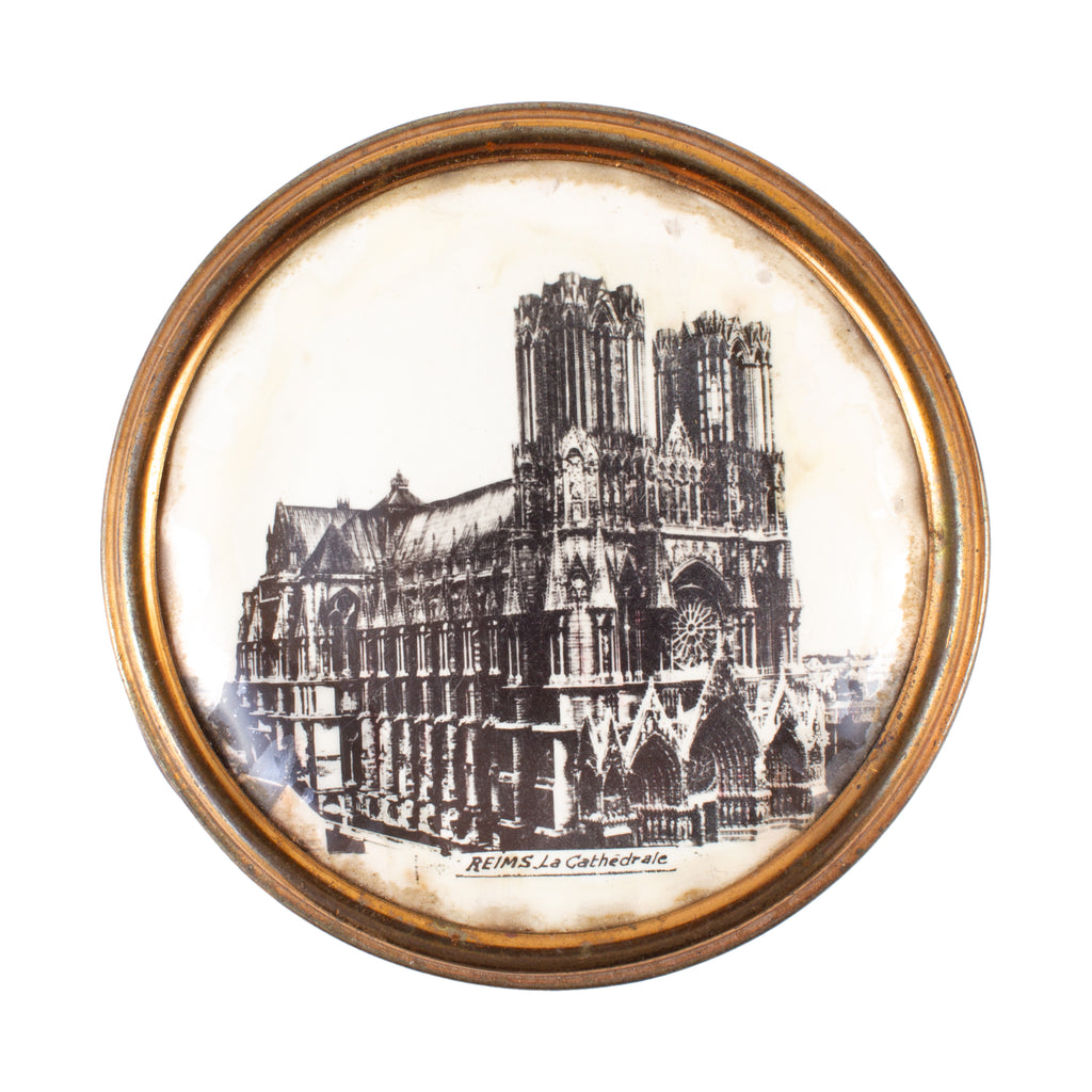 Vintage French Reims Cathedral Souvenir Powder Compact
